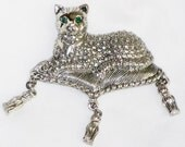 Vintage AVON Royal CAT Brooch Green Rhinestone Eyes, Silver Marcasite, Pillow w/ Moving Tassels
