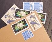 Magnolia .. Blue .. UNused Vintage Postage Stamps  .. post 5 letters