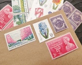 Color of Spring .. UNused Vintage Postage Stamps  .. post 5 letters
