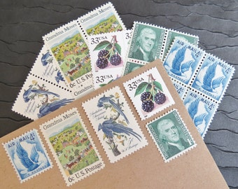 Berry Patch .. UNused Vintage Postage Stamps  .. post 5 letters