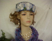 Reserved-Linda Very nice blue flower fascinator pill box hat- fits 22 inches