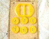 vintage Slide and Button set - Art Deco - sunshine yellow