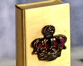 tiny vintage metal matchbox decorated with a crown...recycle pill box...pillbox...  L T 16