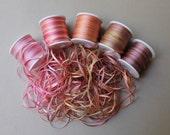 Antique Rose Mix - 15 metres of 2mm variegated silk ribbon
