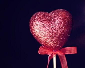 Heart Photography romantic macro for her women wedding valentines day valentine red vivid black dark sparkles sparkly home decor wall art