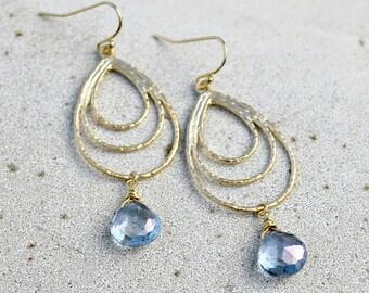 Gold Chandelier Teardrop Earrings, Mystic Blue Quartz Briolette