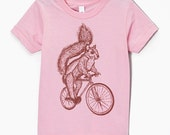 Kids Squirrel on a Bike T Shirt - Pink American Apparel sizes 2 4 6 8 10 and 12