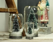 Set of 3 Mason Jar Dry Snow Globe Bottlebrush Tree Upcycled Christmas Decor Table Centerpiece