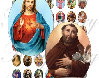 Saints images 18x25mm oval images for charms, pendant, buttons, scrapbook and more Vintage Digital Collage Sheet No.1483
