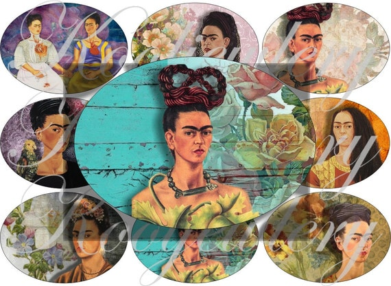 Frida in flowers large oval for belt buckle and more digital collage sheet No.893