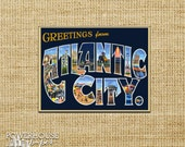 Atlantic City  Vintage Postcard Save the Date