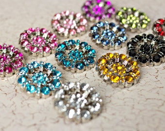 5 Rhinestone Buttons - Several Colors Available - Lisa Button - 32mm - Plastic Buttons - Acrylic Buttons