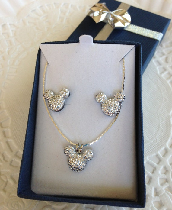 MOUSE EARS Necklace and Earrings for Wedding Party in Dazzling Silver Tone Acrylic