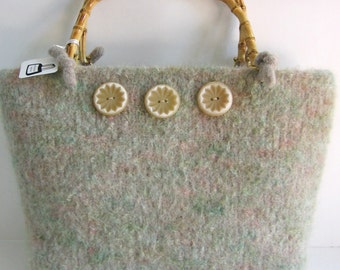 Soft Green Boucle Wool Purse and Free Gift, Hand Knitted, Felted, Custom Lined