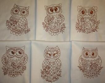 Redwork Owls Machine Embroidered Quilt Blocks Set B