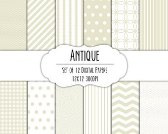 Antique White Digital Scrapbook Paper 12x12 Pack - Set of 12 - Polka Dots, Chevron, Gingham - Instant Download - Item# 8063