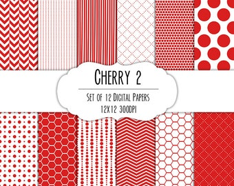 Cherry Red 2 Digital Scrapbook Paper 12x12 Pack - Set of 12 - Polka Dots, Chevron, Hexagon - Instant Download - Item# 8087