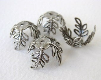 Large Antiqued Silver Ox Plated Leaf Filigree Bead Cap Vintage Style 15mm bcp0029 (4)