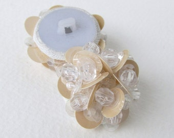 Vintage Button Clear Bead Beige Sequin Bridal Sewing Shank 33mm but0221 (2)