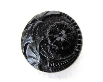 Vintage Glass Czech Flower Buttons Black Sewing Shank 22mm but0226 (2)