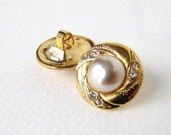 Vintage Rhinestone Buttons Ivory Glass Pearl Gold Metal Shank Czech 19mm but0229 (2)