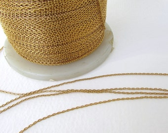 Vintage Chain Cable Delicate Gold Plated Brass Links Beading Japan chn0136 (3 feet)