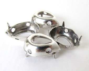 Prong Setting Antiqued Silver Ox Pear Rhinestone Sew On Open Back 18x13mm set0301 (4)