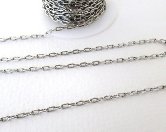 Antiqued Silver Ox Chain Cable Open Links Nunn Design 4x3mm chn0147 (1 foot)