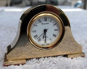 Bulova Botique Desk Minature Brass Mantle Clock B0501