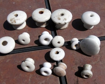 Group of 15 Different Size Porcelain Knobs