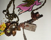 Time Fly's Steampunk Vintage Skeleton Key Necklace