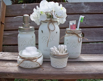 Mason Jar Bathroom Set. Painted and distressed mason jars. Bathroom set. Rustic home decor.  Rustic. Bathroom soap dispenser.
