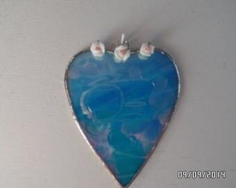 Stained Glass Heart Suncatcher in Iridescent sky blue rosebuds