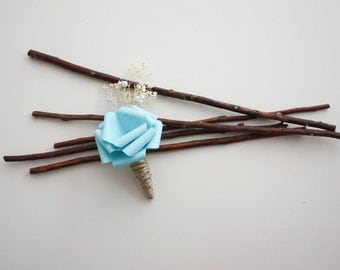 Light Blue Shabby Chic Rustic Boutonniere