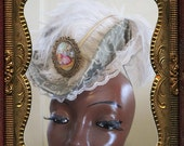 Tapestry Print Elegant Perky Little Hat for Edwarian or Victorian wear