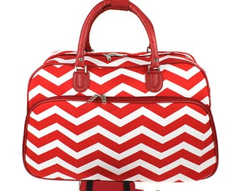 Personalized Red Chevron Carryon Bag