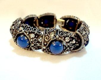 Vintage Kramer Blue Cabochon Rhinestone Very Ornate Link Bracelet