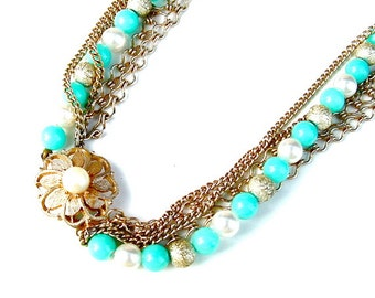 Turquoise Jewelry, Blue Beaded Chain Multi Strand Necklace Vintage Faux Turquoise Costume Jewelry