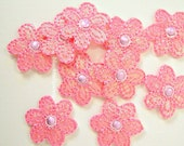 10pc Pink Lilac Flower Appliques Embellishments Scrapbooking Sewing Crafting Supply