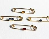 Vintage Gem Safety Pin Set of 2