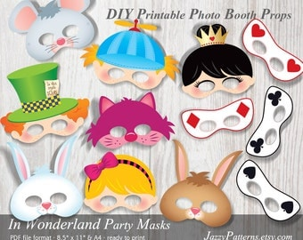 Alice in Wonderland kids mask printables, photo booth props, Alice, white rabbit , mad hatter, cheshire cat PP006