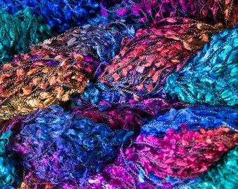 SALE Flag, Hand dyed yarn: rayon novelty -  Aurora, 150 yds.