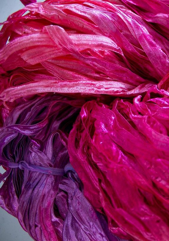 Nylon Knitting Ribbon : Party hand dyed ribbon yarn sunset nylon yds