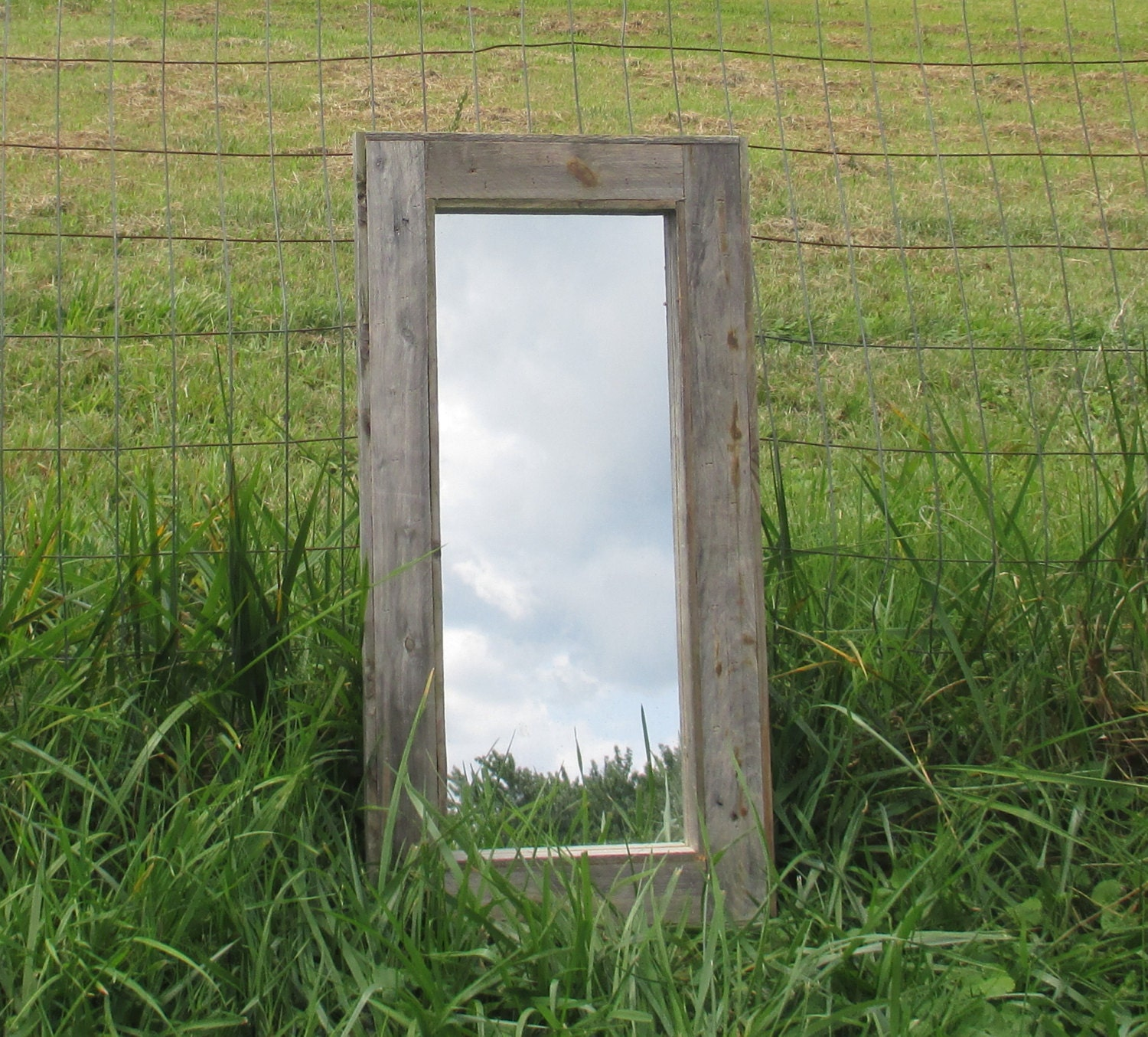 Rustic mirror made from grey reclaimed wood long mirrors for Long stand up mirror