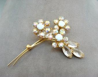 Vintage White Aurora Borealis Rhinestone Flowers Brooch