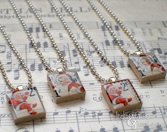 Kewpie Scrabble Necklace, Vintage-Look Handmade Scrabble Tile Art Pendant, Wood Pendant, Kewpie Postage Stamp Art, Tiny Jewelry, Winter Snow
