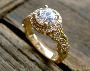 Round Brilliant Cut Diamond Engagement Ring in 18K Yellow Gold with Vintage Inspired Flower Buds on Vine Motif and Satin Finish Size 5