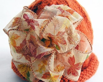 Autumn Harvest Baby Hat Photo Prop - Orange Fall