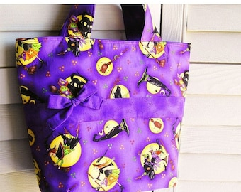 Knitting Tote Bag, Halloween Witches Print Purple Black Orange Yellow - Perfect Handbag Knitting Tote Combo