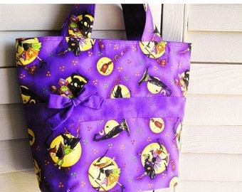 Knitting Tote Bag, Halloween Witches Print Purple Black Orange Yellow - Perfect Handbag Knitting Tote Combo